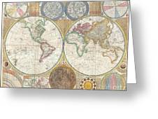 1794 Samuel Dunn Wall Map Of The World In Hemispheres Greeting Card by Paul Fearn