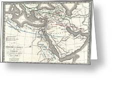 1839 Monin Map Of The Hebrew Peoples Dispersal After The Flood Greeting Card by Paul Fearn