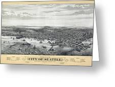 1878 Seattle Washington Map Greeting Card by Daniel Hagerman