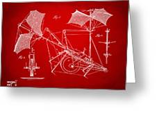 1879 Quinby Aerial Ship Patent Minimal - Red Greeting Card by Nikki Marie Smith