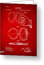 1891 Police Nippers Handcuffs Patent Artwork - Red Greeting Card by Nikki Marie Smith