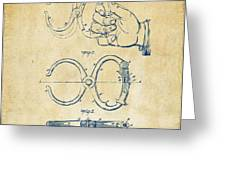 1891 Police Nippers Handcuffs Patent Artwork - Vintage Greeting Card by Nikki Marie Smith