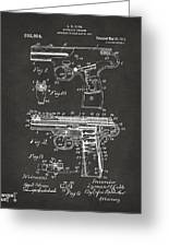 1911 Automatic Firearm Patent Artwork - Gray Greeting Card by Nikki Marie Smith