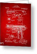 1911 Automatic Firearm Patent Artwork - Red Greeting Card by Nikki Marie Smith