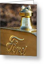 1911 Ford Model T Torpedo 4 Cylinder 25 Hp Hood Ornament  Emblem Greeting Card by Jill Reger
