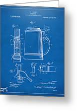 1914 Beer Stein Patent Artwork - Blueprint Greeting Card by Nikki Marie Smith