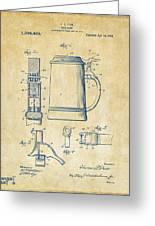 1914 Beer Stein Patent Artwork - Vintage Greeting Card by Nikki Marie Smith