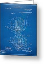 1914 French Horn Patent Blueprint Greeting Card by Nikki Marie Smith