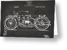 1919 Motorcycle Patent Artwork - Gray Greeting Card by Nikki Marie Smith