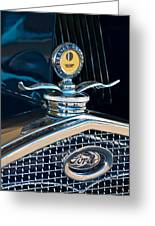 1931 Model A Ford Deluxe Roadster Hood Ornament Greeting Card by Jill Reger