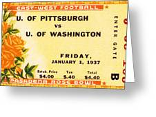 1937 Rose Bowl Ticket Greeting Card by David Patterson