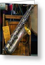 1940ish Saxophone Greeting Card by Thomas Woolworth
