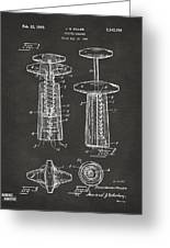 1944 Wine Corkscrew Patent Artwork - Gray Greeting Card by Nikki Marie Smith