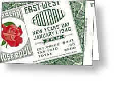 1946 Rose Bowl Ticket - Usc Vs Alabama Greeting Card by David Patterson