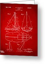 1948 Sailboat Patent Artwork - Red Greeting Card by Nikki Marie Smith