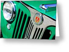 1949 Willys Jeep Station Wagon Grille Emblem Greeting Card by Jill Reger