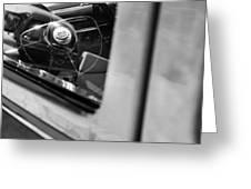 1950 Ford Custom Deluxe Woodie Station Wagon Steering Wheel Emblem Greeting Card by Jill Reger