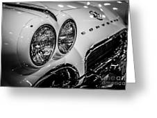 1950's Chevrolet Corvette C1 In Black And White Greeting Card by Paul Velgos