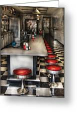 1950's - The Ice Cream Parlor Greeting Card by Mike Savad
