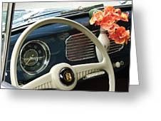 1952 Volkswagen Vw Bug Steering Wheel Greeting Card by Jill Reger