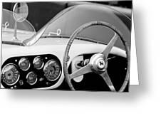 1953 Ferrari 340 Mm Lemans Spyder Steering Wheel Emblem Greeting Card by Jill Reger