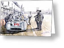 1955 Mercedes Benz W 196 Str Stirling Moss Italian Gp Monza Greeting Card by Yuriy  Shevchuk