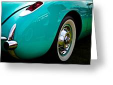 1956 Baby Blue Chevy Corvette Greeting Card by David Patterson