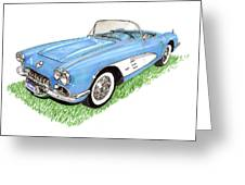 1959 Corvette Frost Blue Greeting Card by Jack Pumphrey