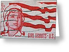 1962 Girl Scouts Stamp Greeting Card by Bill Owen