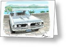 1967 Barracuda  Classic Plymouth Muscle Car Sketch Rendering Greeting Card by John Samsen