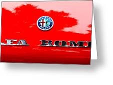 1969 Alfa Romeo Spider Veloce Iniezione Emblem Greeting Card by Jill Reger
