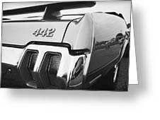 1970 Olds 442 Black And White Greeting Card by Gordon Dean II