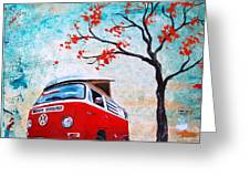 1970 Red Volkswagen Camper Bus Greeting Card by Sheri Wiseman