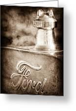 1911 Ford Model T Torpedo 4 Cylinder 25 Hp Hood Ornament - Emblem Greeting Card by Jill Reger