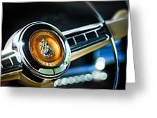 1949 Plymouth P-18 Special Deluxe Convertible Steering Wheel Emblem Greeting Card by Jill Reger