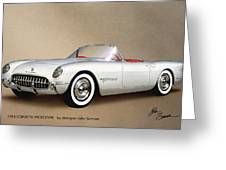 1953 Corvette Classic Vintage Sports Car Automotive Art Greeting Card by John Samsen