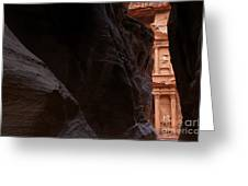 A Glimpse Of Al Khazneh From The Siq In Petra Jordan Greeting Card by Robert Preston