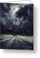 An Asphalt Road With Stormy Sky Above Greeting Card by Evgeny Kuklev