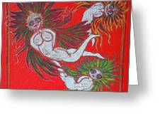 Angels At Play Greeting Card by Lyn Blore Dufty