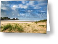 Beautiful Blue Sky Morning Landscape Over Sandy Three Cliffs Bay Greeting Card by Matthew Gibson