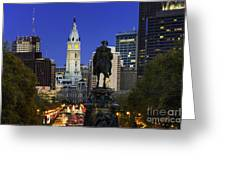 Ben Franklin Parkway and City Hall Greeting Card by John Greim