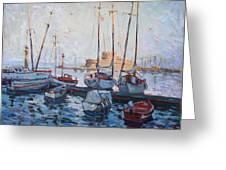 Boats In Rhodes Greece  Greeting Card by Ylli Haruni
