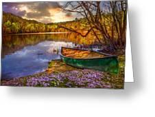 Canoe At The Lake Greeting Card by Debra and Dave Vanderlaan