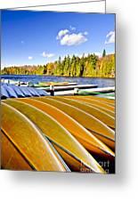 Canoes On Autumn Lake Greeting Card by Elena Elisseeva