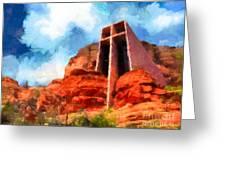 Chapel Of The Holy Cross Sedona Arizona Red Rocks Greeting Card by Amy Cicconi