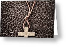 Christian Cross on Bible Greeting Card by Elena Elisseeva
