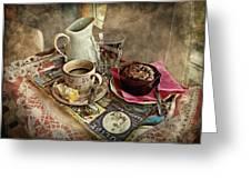 Coffee Time Greeting Card by Barbara Orenya