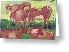 Cows Greeting Card by Vincent Van Gogh