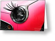 Cute Pink Car Greeting Card by Jasna Buncic