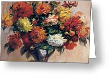 Dahlias Greeting Card by Pierre-Auguste Renoir